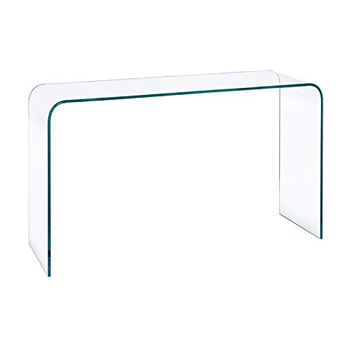 EGLEMTEK Consolle Tavolo da Salotto e Soggiorno in Vetro Temperato - Luxury Z-06 - Design Moderno e Curvo, Dimensioni 110 x 80 x 40 cm
