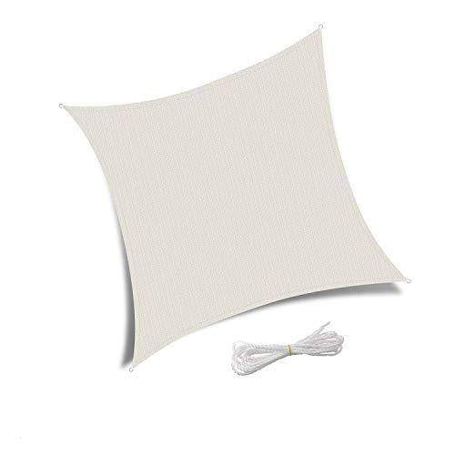 Patio Shack Toldo Vela de Sombra Cuadrado 2,5x2,5 m, HDPE Transpirable y Protección Rayos UV para Exterior, Jardín, Terrazas Crema