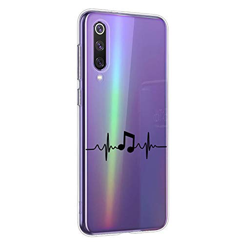 Suhctup Compatible con Xiaomi Mix Alpha Funda Silicona Transparente con Dibujos Lindo Cárcasa Ultrafina Suave Gel TPU con Animados Diseño Patrón Antigolpes Proteccion Cover,Nota Musical