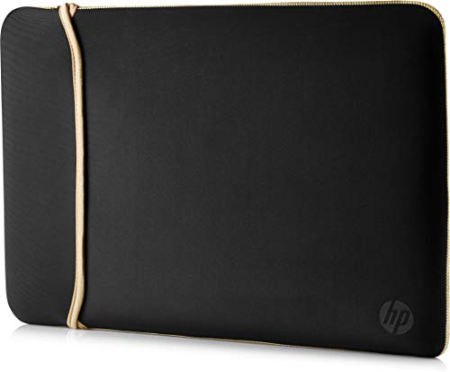 HP 14 Inch (35.5 cm) Black & Gold Reversible Neoprene Sleeve for Laptop/Chromebook/Mac