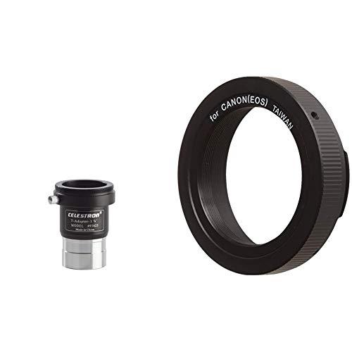 Celestron Raccordo Foto Universale C/Innesto per Fotocamere Reflex, 31.8 mm, Nero & Anello T2 per Canon EOS, Nero