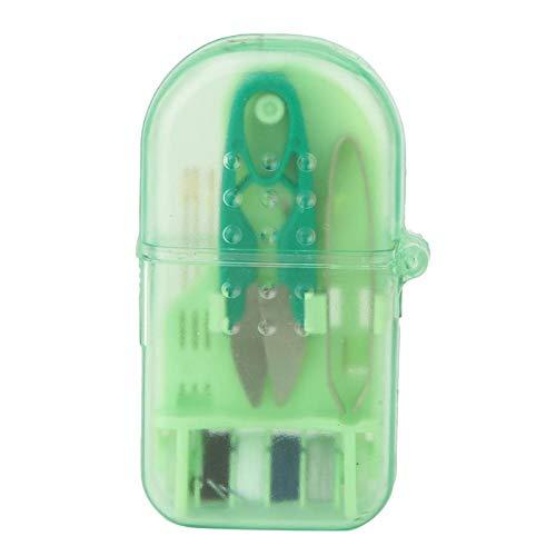 Jeanoko Mini caja de costura portátil Color brillante Mini herramienta de costura Set Ropa Artesanía para coser (verde)