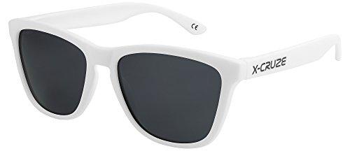 X-CRUZE® 9-016 Gafas de sol Nerd polarizadas estilo Retro Vintage Unisex Caballero Dama Hombre Mujer Gafas - blanco mate LS/negro