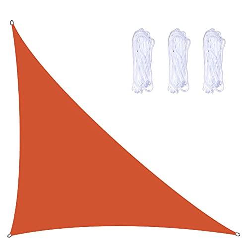 YHYL Garden Sun Shade Sails, Triángulo Sol De La Vela Sombra con 3 Cuerdas De 2,5 M, Impermeable Y Bloque UV, Triángulo Doble para Patios Al Aire Libre Tapa De Toldos,Naranja,5m x 5m x 7m