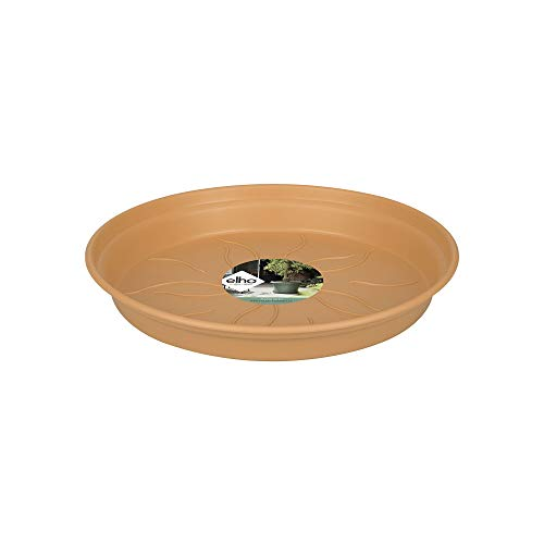 Elho Green Basics Soucoupe 34 - Terre Cuite Doux - Intérieur & Extérieur - Ø 34 x H 4.9 cm