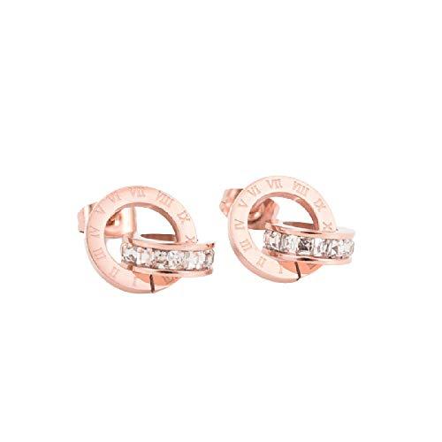 Pendientes de acero de titanio de alta calidad doble herida números romanos pendientes de cristal para las mujeres regalo joyas