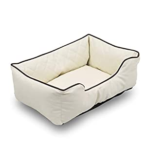Happycare Textiles Luxury All Sides Faux leather Rectangle Pet Bed. Beige color, 26×18 inches