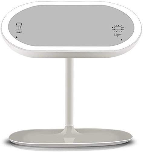 Espejos de maquillaje creativo LED con sensor inteligente recargable por USB, para dormitorio, escritorio y escritorio, regalo para niña (color: -, tamaño: -)