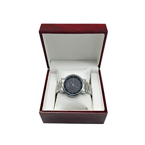 ibasenice einzelne Uhr Box quadratische Einbrennlack glänzend Geschenkverpackung Schmuck Halter Container Holz Box für Armreif Schmuck (ohne Uhr)