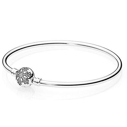 HMKLN Authentische 925 Sterling Silber kristall Schneeflocke klatschen schlangenkette Pandora Armband armreif fit Frauen perlen Charme DIY schmuck