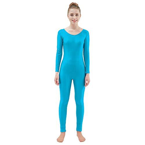Ensnovo Womens Spandex Bodysuit Long Sleeve Scoop Neckline Footless Unitard Blue,L