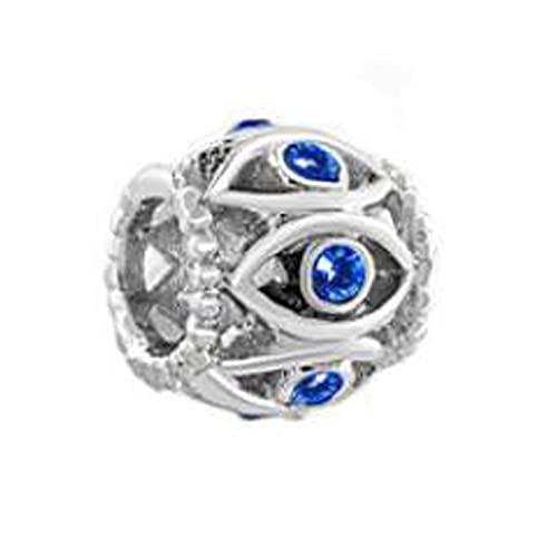 Pandora Fashion 925 Charm Mm Hole Hollow Crystal Blue Eyes Nació Lucky Bracelet Beads Fit Bracelet