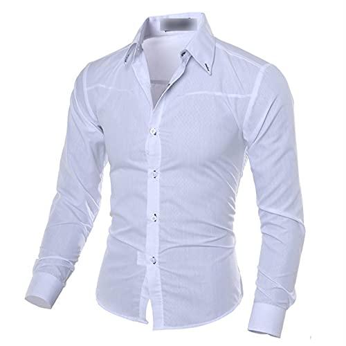Camisa Formal Informal para Hombre Camisa con Botones De Manga Larga Color Puro DiseO De Moda Delgado