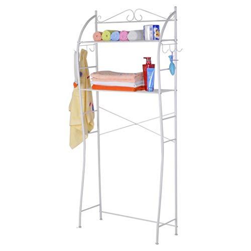 Djpcvb Regal Waschmaschinenregal Doppellagerung Platzsparend Badezimmerregal Toilettenständer Bodenregal Weiß Badezimmer Regal