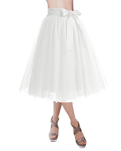 DRESSTELLS® Dames Swing Rok Midi Tutu Rok Tulle Knielengte Dating Prom Party Rok