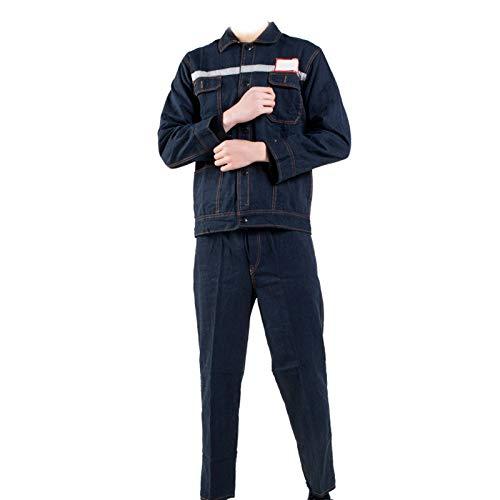 YJKJ Chaqueta de soldadura, chaqueta de trabajo, algodón puro, color azul vaquero, absorbe la humedad, tira reflectante, L