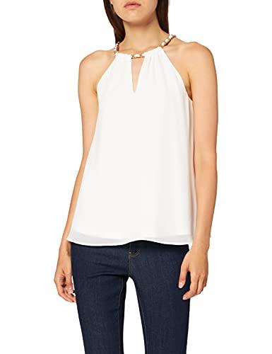 Morgan Top Uni Bijoux Chaine Encolure 211-ORINES Camisa Cami, Off White, 38 para Mujer
