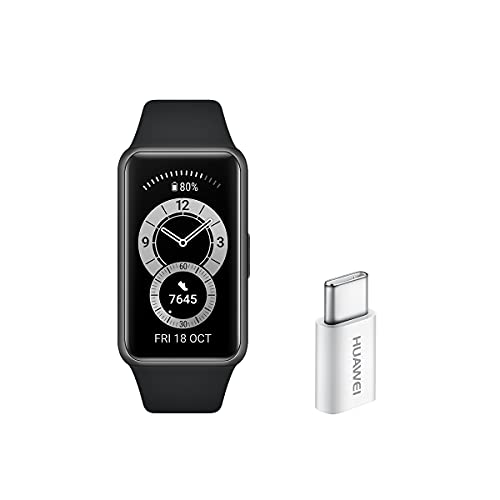 Huawei Band 6 - Pulsera de actividad con monitorización de Oxígeno en sangre (SpO2) 24horas y Adaptador USB-C, Pantalla FullView de 1.47 pulgadas, Batería para dos semanas, Negro