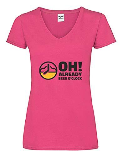 Druckerlebnis24 Camiseta V – Reloj de Cerveza Malle – Camiseta para Mujer...