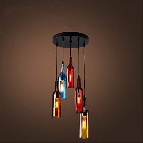 MQW LED Glasflaschen Pendelleuchten Industriedecke Hängeleuchte Buntem Flasche Rotwein Hängelampe Retro Esszimmer Lampenschirm Restaurant Wohnzimmer Lampe E27 [Energieklasse A+],Amber,5headsround