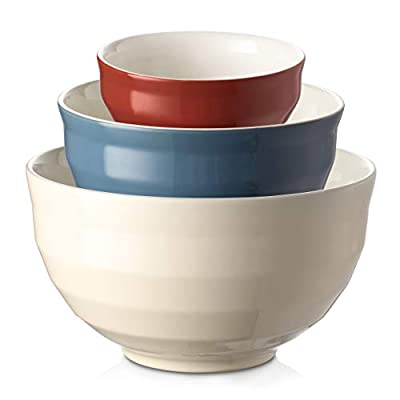 DOWAN Ceramic Mixing Bowls for Kitchen, 4.25/2/0.5 Qt Large Serving Bowl Set, Oven & Microwave & Dishwasher Safe, Sturdy & No Scratch, Nesting Bowls for Space Saving, 3-Piece Set