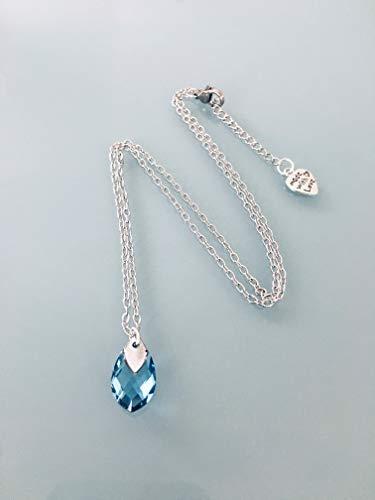 Edelstahl Marine hohe Halskette, Schmuck, blauer Stein Halskette, Aquamarin Juwel, Naturstein, Glücksbringer, Weihnachtsgeschenk