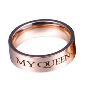 Danigrefinb Anillos de Promesa para Mujer, Letras de Moda, para Pareja, Anillo de Matrimonio, Regalo de joyería de Boda de mi Rey, mi Reina, US 5 My Queen