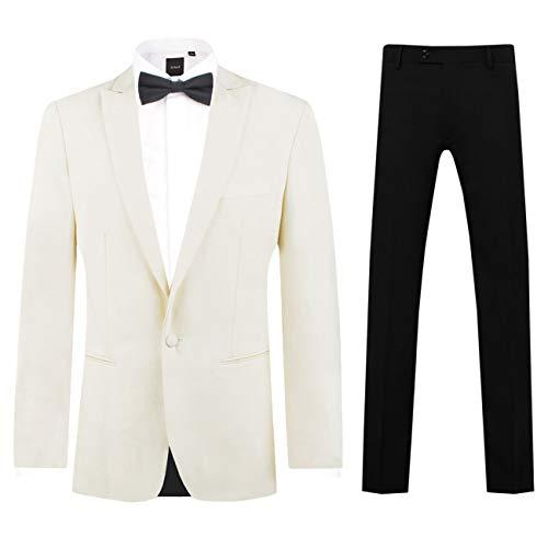 Dobell Herren Smoking-Anzug Weiß Zweiteilig Slim Fit Steigendes Revers Schwarzer Hose (50 Jackett mit 50 Hosen)