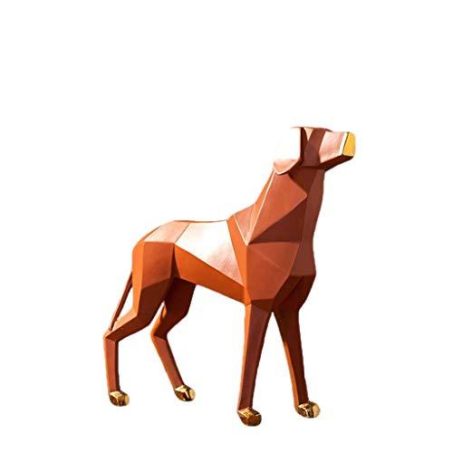 IUYJVR Escultura de Escritorio Decoración de Perro de Origami nórdico Decoración de gabinete de TV de Sala de Estar Simple Moderna Decoración (Color: Naranja)