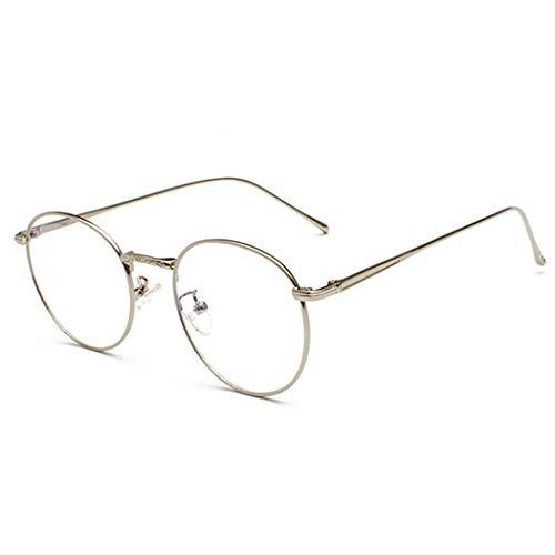Volon Brille Retro Glasrahmen-Ebenenspiegel Dekobrille Nerdbrille Klassisches Rund Rahmen Glasses,,Silber