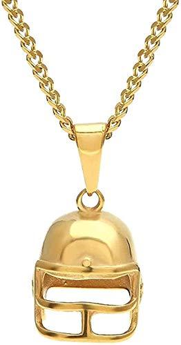 WYDSFWL Collar Collar Color Oro Acero Inoxidable Casco Collares en T Tablas de Dormir cubanas 24 Pulgadas de Largo Collar Hiphop Hombres Joyería Accesorios Regalos
