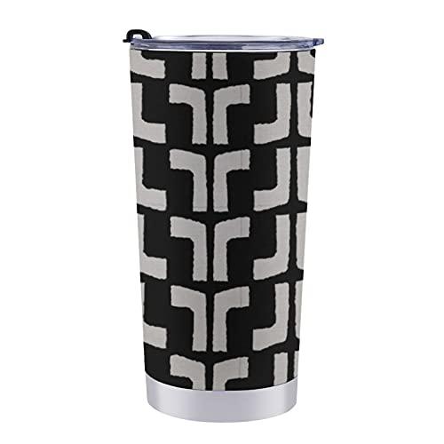 Taza de viaje de doble pared de acero inoxidable de 20 onzas con tapa a prueba de salpicaduras sin BPA, diseño africano, impresión tribal