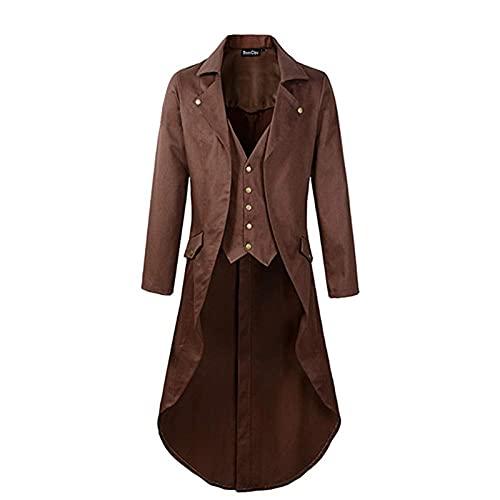 Hombres Chaqueta Steampunk Vintage Tailcoat Retro...