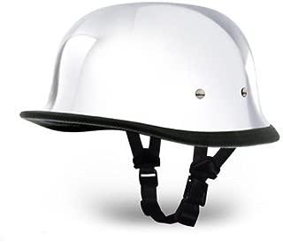 German Novelty Chrome Silver Motorcycle Half Helmet Harley Cruisers S,M,L,XL,XX (L, CHROME)