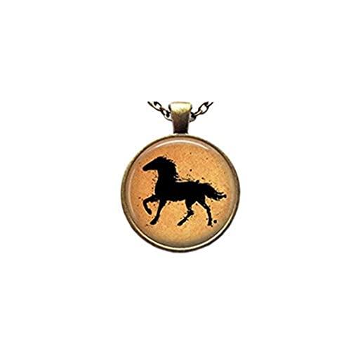 Youkeshan Collar con colgante de caballo de acuarela