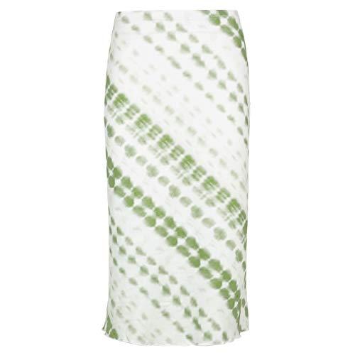 XOXSION Preppy Style Mid-Wade Empire - Falda de cintura alta para mujer verde S