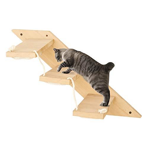 MOUHIV Escalera de Gato con 3 peldaños Escaleras de Gato montadas en la Pared Reversibles Estante de Escalador de Gato Área de Juegos de Gato Gimnasio Gatito Escalera Kitty Escalada Hecho a Mano