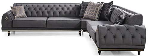 Casa Padrino Art Deco Chesterfield Ecksofa Grau/Schwarz/Gold 320 x 285 x H. 82 cm - Edles Wohnzimmer Sofa mit dekorativen Kissen Qualität