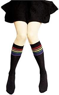 Lovely Socks Children Cotton Mesh Socks Kids Spring and Autumn Stripe Patterns Mid Tube Stocking(White) Newborn Sock (Color : Black)