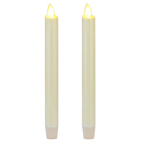 """Ksperway 8"""" Set of 2 Ivory Unscented Wax Flameless Taper Candle with Moving Wick,Timer and Remote"""