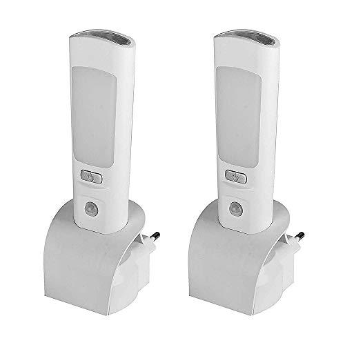 2 x LED-Nachtlicht mit Taschenlampe - integrierter Infrarot-Bewegungssensor und Dämmerungssensor - Notleuchte