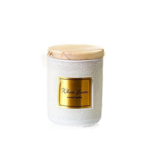 YICHEN Velas de aromaterapia con Tapa de Madera tótem de Seis Colores Velas perfumadas con Aceite Esencial Cera de Soja sin Humo Personalizada con Recuerdos,Fleurs Blanches