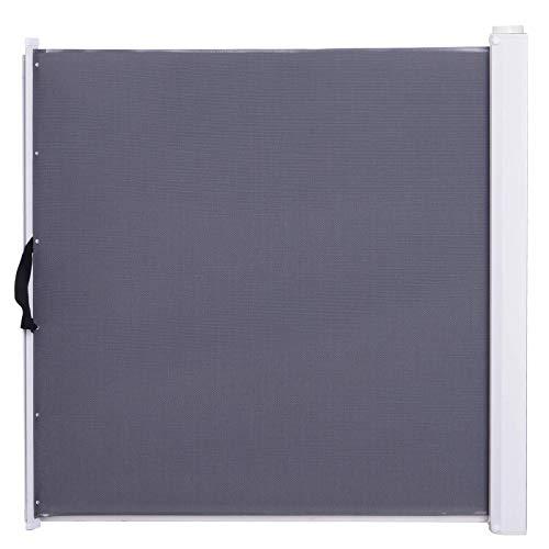 Pawhut Barrière de sécurité barrière Animaux rétractable Automatique 1,15L x 0,83H m teslin métal Gris