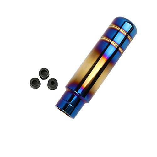 Riloer - Pomello del cambio per auto, universale, 13 cm, in alluminio, cambio per auto, camion, auto da corsa, con 3 adattatori da 8 mm, 10 mm, 12 mm, colore blu