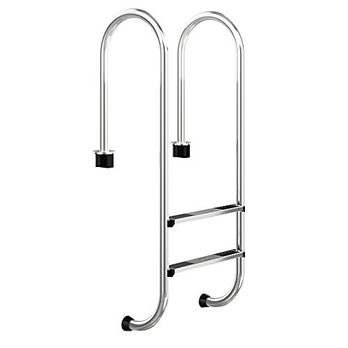 COSTWAY 2 stufiger Edelstahl Poolleiter, Schwimmbad Leiter bis 200kg belastbar, Einstiegsleiter Silber, Schwimmbadleiter rutschfest, Einbauleiter 54,5 x 39 x 138,5 cm