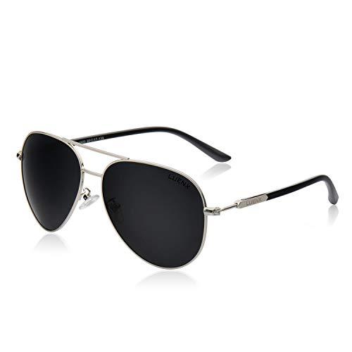 LUENX Sonnenbrille, für Herren und Damen, polarisiert, Metallrahmen, groß, 60 mm, geeignet für Autofahren, Strand, Mode, Reisen Gr. L, 16black