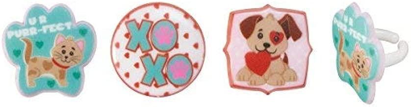 24 Pack Paws N Kisses Puppy & Kitten Cupcake Rings Topper
