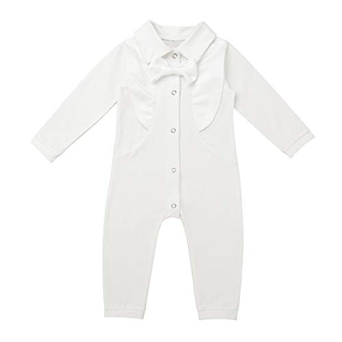 FEESHOW Newborn Baby Boys' Baptism Outfit White Christening Cotton Suit Infant Romper Jumpsuit Coverall Ivory 0-3 Months