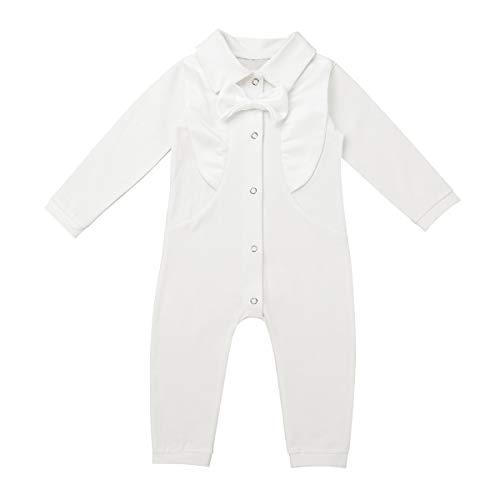 iEFiEL Baby Jungen Taufkleidung für Besondere Anlässe Taufe Strampler für Jungen Body Langarm Baumwolle Taufanzug Smoking Anzug Weiß Elfenbein 12-18 Monate