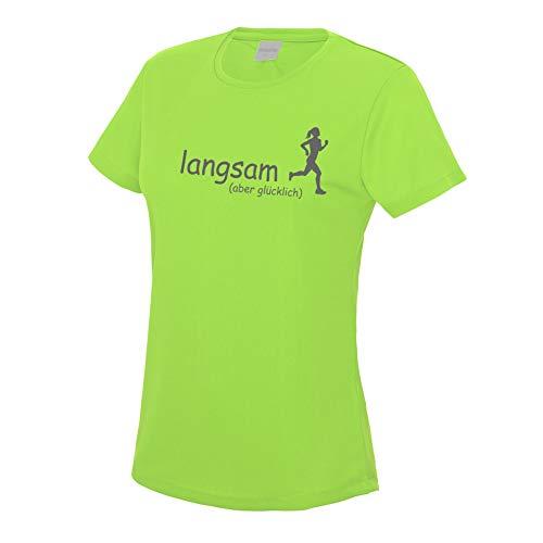 RoughTex Laufshirt Damen langsam Aber glücklich | Fun T-Shirt Sprüche T-Shirts für Jogging Laufen Fitness Medium Fit neongrün grau L